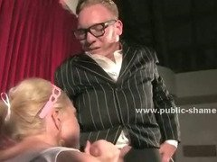 Slut gets tied up and is forced to show her holes to a public before having her face fucked