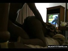 Chubby amateur black couple home in bed