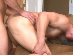 The little guys takes the big guy from behind as he ass fucks him