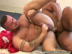 Gay stud takes hard cock in his ass