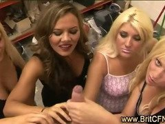 Four british girls give lucky CFNM guy a handjob