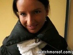 Petite European girl picked up and fucked hard for money
