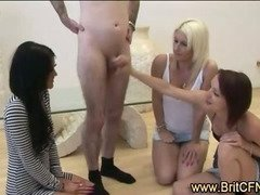 CFNM guy made to strip by three British girls