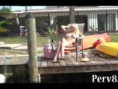 Hot blonde bikini MILF picked up fucks good on a boat