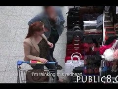 Feisty redhead amateur blowjob and fucking in public