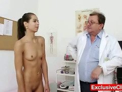 Petite latina Ferrera Gomez pussy checkup up close