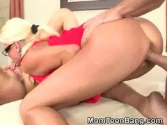 Blonde Busty MILF And Hot Teen Girl Banged In Threesome