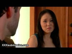 Tied up Asian babe Madeleine Mei seduced by couple