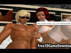 3d hunk gets into a lusty threesome with two beautiful babes