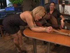 This slut gets bent over the office desk and gets a spanking for her behaviour