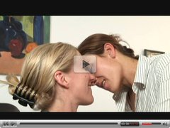 Blonde and Brunette Lesbians make love
