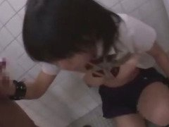 Japanese girl mouth fucked in toilet