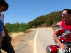 Slim amateur girl with small tits twat banged on a motorcycle