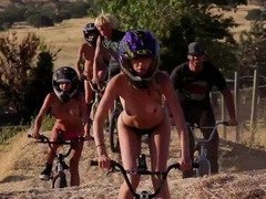 Naughty playboy bunnies gone fishing and naked dirty biking