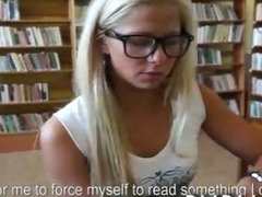 Schoolgirl amateur having anal sex in the schools public library