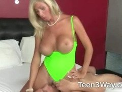 Blonde big tits milf sucks college guys dick before a teen girl catches them