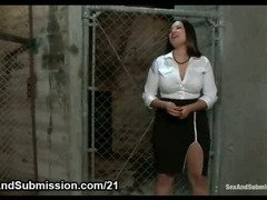 Naturally busty babe bdsm pounded in mouth and huge boons clamped with wooden clothes pins in cell