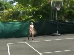 Group of nude amateur girls lesbian action at tennis court