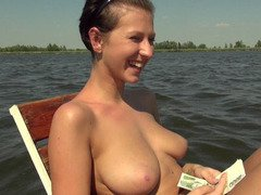 A girl found on a lawn catching a tan and is invited to little boat trip where things get naughty