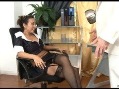 Cougar fucks boss at the office