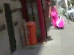 Girls bare butt exposed on street