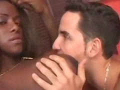 Super sexy black tranny fucks and sucks latino guy