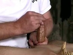 Tied up and clothespinned stud getting jerked off