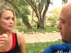 Young blonde girl with perky tits slammed with older guy