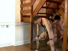 Tied up stud getting his tight ass fucked hard