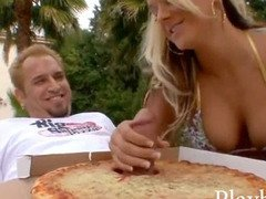 Busty blonde babe having sex with the pizza delivery boy