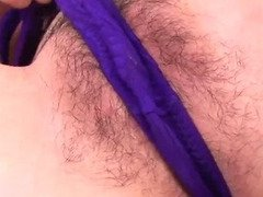 Keito looks sexy in her purple lingerie sucking on a hard dick