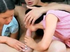 Two cock starved petite brunettes in hardcore anal ffm trio