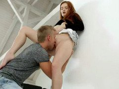 Redhead teen babe gives blowjob and screwed good