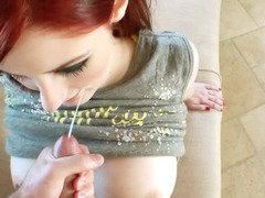 Redhead GF like the idea to give head and get fucked on tape