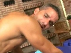 Hot muscular hunk getting his tight ass fucked bareback