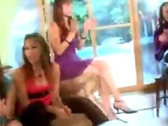 Bride sucks a strippers cock at a home CFNM party