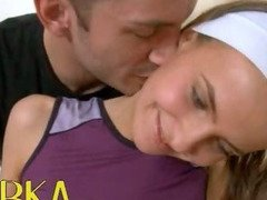 Workout massage with russian cheerleader