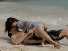 Extremely hot lovers sexing on the beach