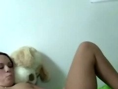 Sexy college babe fingering pussy and cant get enough