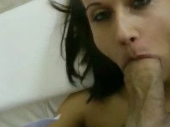 Dark short haired Madlin slurping big shaft and analized in pov