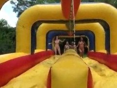 Water games with sexy college chicks leads to a sweet orgy with the horny guys