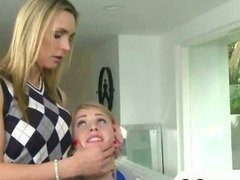 Big boobs blonde piano teacher and a teen ffm threesome