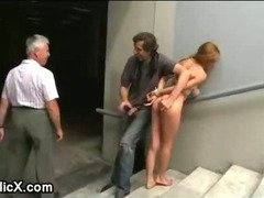 Tied up babe fucked in underpass