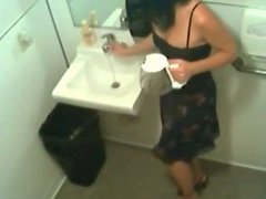Hidden cam in toilet filming officegirl pissin