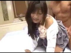 Cute Schoolgirl Getting Her Pussy Fucked Facial Sucking Guy On The Bed In The Hotel Room
