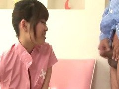 Ririka Suzuki has a hole ripped in her pantyhose so that her pussy can be fingered