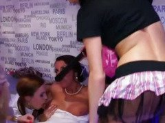 Drunk party girls trying out lesbian sex