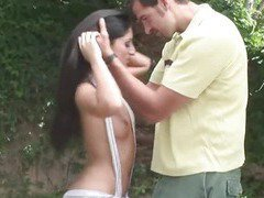 Hot babe takes a hard anal fuck outdoors