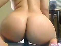 Sexy BBW Pinky Masturbating Until She Squirts & Rides big dildo like a cock