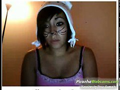 Hottest Amateur 19yo Brunette Teen does a   kitty look and bates on Webcam